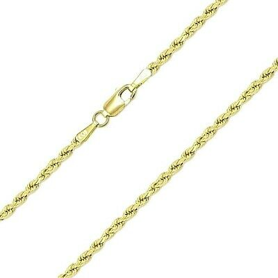 "10K Solid Yellow Gold Necklace Gold Rope Chain 16"" 18"" 20"" 22"" 24"" 26"" 28"" 30"" 5"