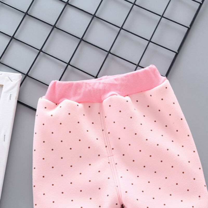 Toddler Baby Girls Dot Candy Thick Warm Pants Trousers Legging Clothes UK 12
