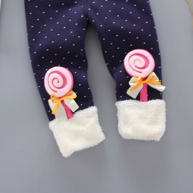 Toddler Baby Girls Dot Candy Thick Warm Pants Trousers Legging Clothes UK 7