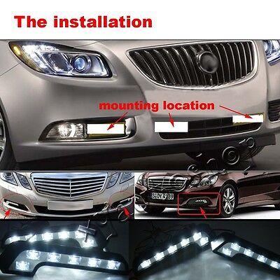 2X White 6 LED Universal Car Auto Driving Lamp Fog 12V DRL Daytime Running Light 5