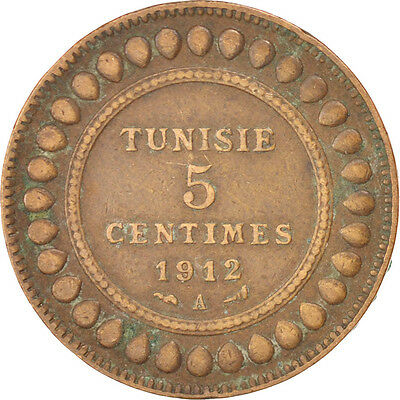 [#91477] TUNISIA, 5 Centimes, 1912, Paris, KM #235, EF(40-45), Bronze, 26 2