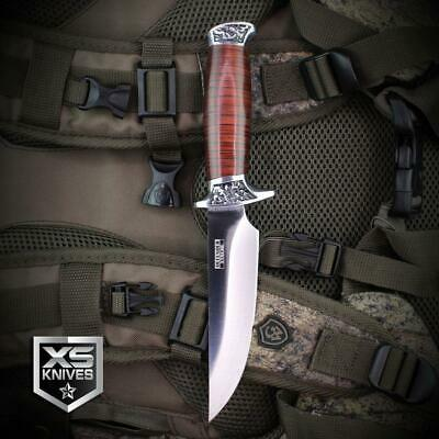 Combat SURVIVAL Hunting Tactical BOWIE Ornate Cherry Wood Fixed Blade Knife 4