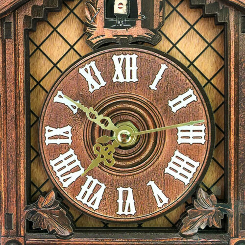 2Pcs Retro Collectible Handcrafted Wood Cuckoo Wall Clock with Pendulum 7