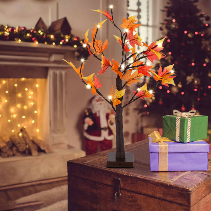 Seasonal Fall Winter Decor Lighted Artificial Tree for Indoor Home Office Party Celebration Reunion Lighted Maple Tree Tabletop Lamp Decorating Gift Home Ornament 24 LED USB End Plug