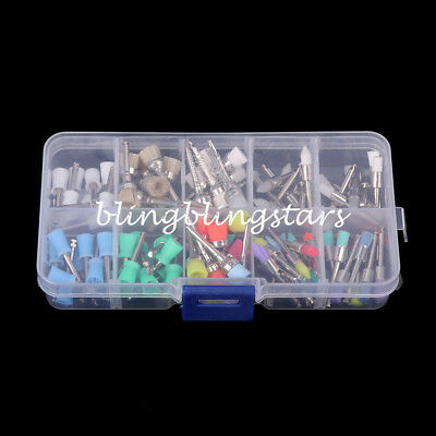 100Pcs Mixed Color Nylon Latch Flat Polishing Dental Prophy Brushes Cup Kit 3