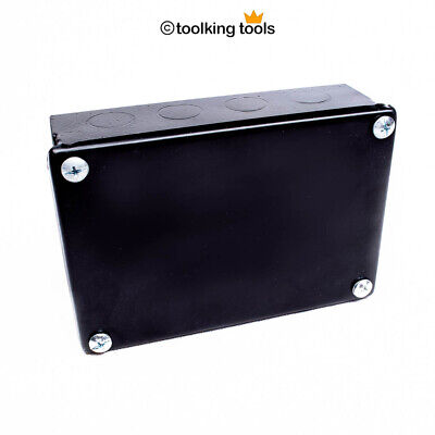 "Adaptable Electrical junction Box Steel x 4 , black with Knockouts, 6"" x 4"" 3"