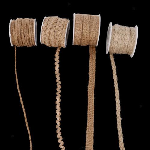 5M Handmade Braid Jute Burlap Hessian Rustic Ribbon Twine Rope Cord String