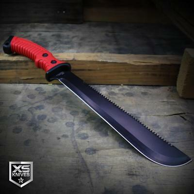 "15.5"" RED Survival Jungle Hunting Machete SAWBACK Military Fixed Blade SHEATH 2"