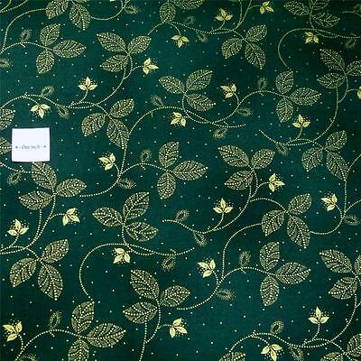 Delicate /& Elegant Metallic Gold Leaves on Forest Green by Hoffman Cotton Fabric