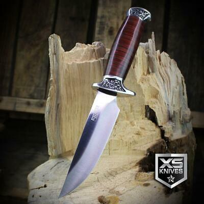 Combat SURVIVAL Hunting Tactical BOWIE Ornate Cherry Wood Fixed Blade Knife 2