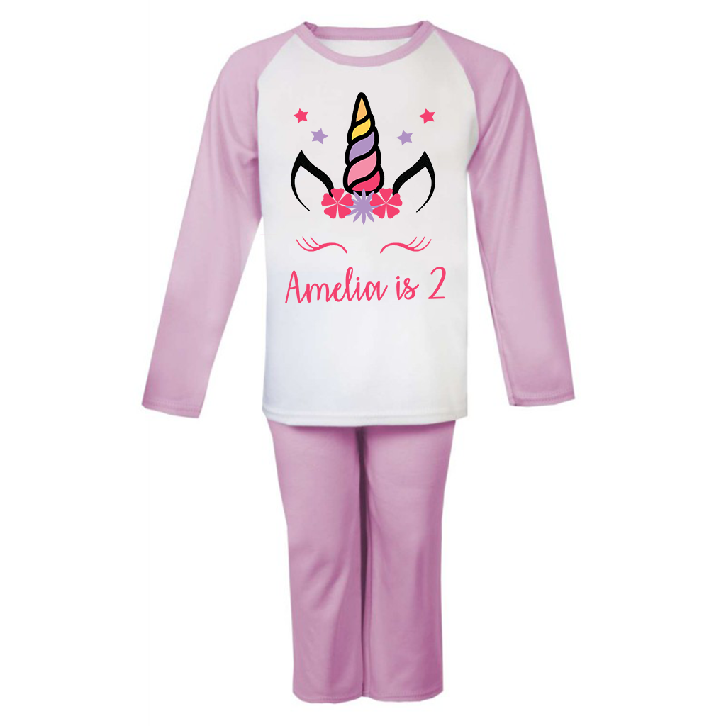 Personalised Unicorn Birthday Pjs Kids Pyjamas ANY NAME AND AGE Birthday Girl 5