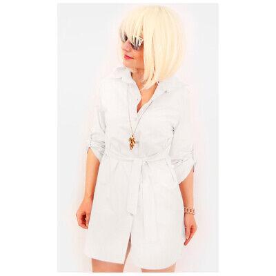 new style 008fb 581f2 ABITO VESTITO CORTO da Donna Mini Camicia Oversize Camicione Maniche 3/4  Cintura