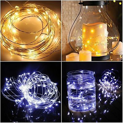 20/50/100 LEDs AA Battery Operated Mini LED Copper Wire String Fairy Lights 10M 6