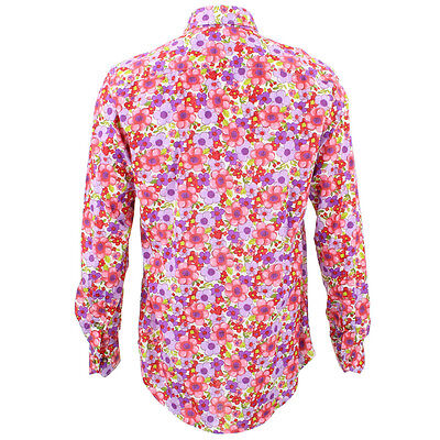 Mens Loud Shirt Retro Psychedelic Festival Party Funky Floral Blue REGULAR