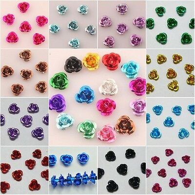 100 Stück Rosen Perlen Aluminium 6mm x 4mm Hochzeit Blumen 16 Farbe 2