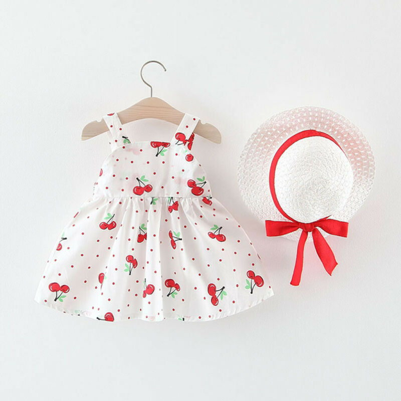 Toddler Baby Kids Girls Print Sun Dress Print Princess Dress Bow Hat Outfits UK