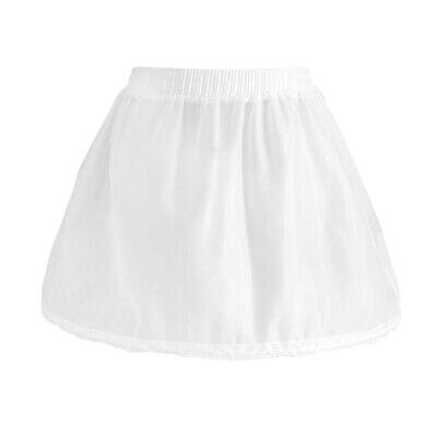Girls 1 Hoop Tulle Wedding Flower Girl Short Chiffon Petticoat Underskirt 5