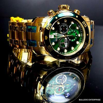 Mens Invicta Pro Diver Scuba 18kt Gold Plated Chronograph Green 48mm Watch New 6