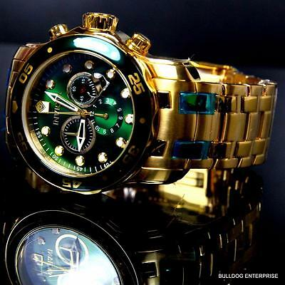 Mens Invicta Pro Diver Scuba 18kt Gold Plated Chronograph Green 48mm Watch New 7