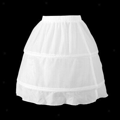 Girls 2 Hoop Tulle Wedding Flower Girl Short Chiffon Petticoat Underskirt 8