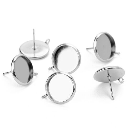 60x Metal Stud Earring Blank Cabochon Base Setting Tray with Loop 12/16/10mm 10
