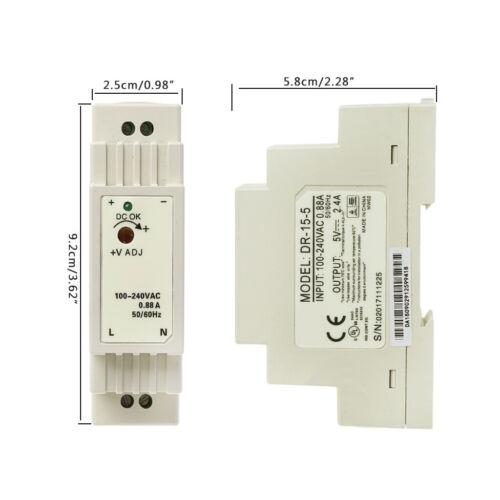 DR-15W Industrial DIN Rail Switching 5V 12V 15V 24V Power Supply 6