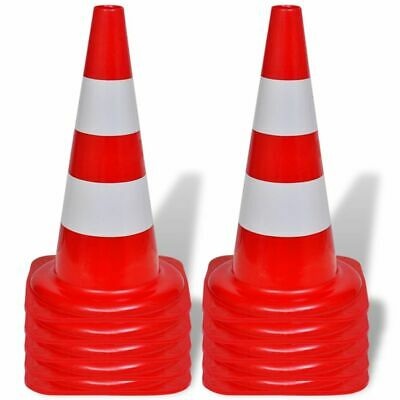 vidaXL 10x Reflective Traffic Cones Red and White 50cm Parking Safety Road 2