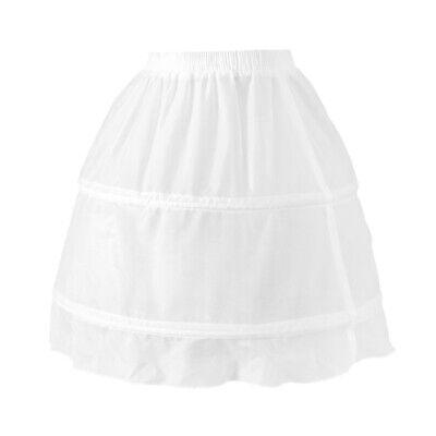 Girls 2 Hoop Tulle Wedding Flower Girl Short Chiffon Petticoat Underskirt 5