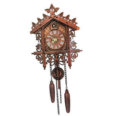 European Vintage Cuckoo Clock w/ Pendulum Hand-carved Wood Wall Clock Room Decor 9