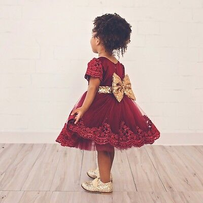 USA Princess Baby Girls Bowknot Tulle Floral Dress Wedding Party Formal Dresses