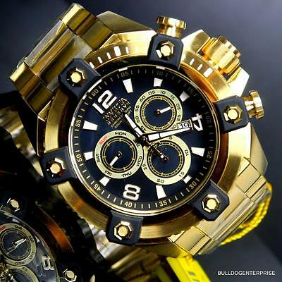 Invicta Reserve Grand Arsenal 63mm Swiss Movt Black MOP Gold Plated Watch New 2