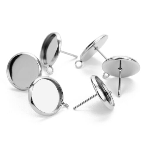 60x Metal Stud Earring Blank Cabochon Base Setting Tray with Loop 12/16/10mm 5