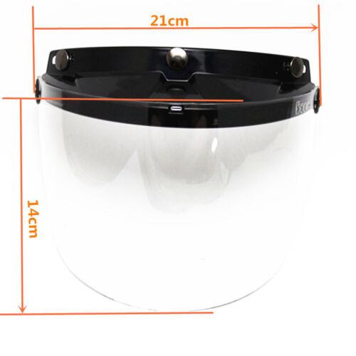 Universal 3 Snap Flip Up Open Face Motorcycle Helmet Visor Lens Shield Clear