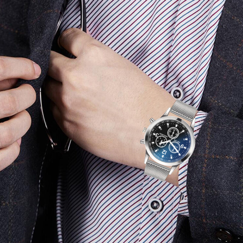 Men's Military Watches Analog Quartz Stainless Steel Big Dial Wrist Watch Gift 3