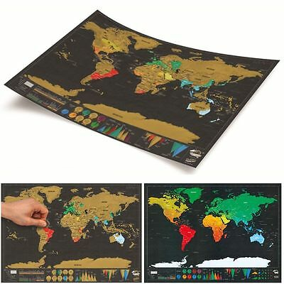Deluxe Travel Edition Scratch Off World Map Poster Personalized Journal Log Gift 5