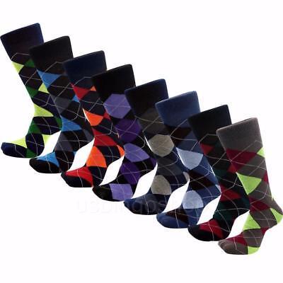 12 Pairs New Cotton Men Argyle Diamond Style Dress Socks Size 10-13 Multi Color 3