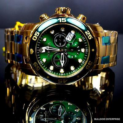 Mens Invicta Pro Diver Scuba 18kt Gold Plated Chronograph Green 48mm Watch New 5