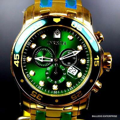 Mens Invicta Pro Diver Scuba 18kt Gold Plated Chronograph Green 48mm Watch New 9