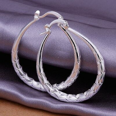 925 Sterling Silver Hoop Pierced Earrings L4
