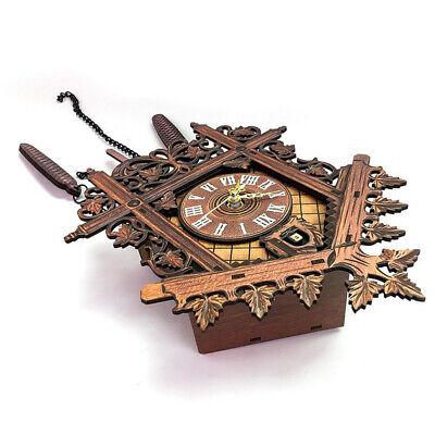 European Vintage Cuckoo Clock w/ Pendulum Hand-carved Wood Wall Clock Room Decor 6