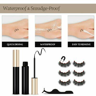 Magnetic Eyeliner Liquid & Lashes Kit - Set of 3 Mink Eyelashes Natural Long UK 7