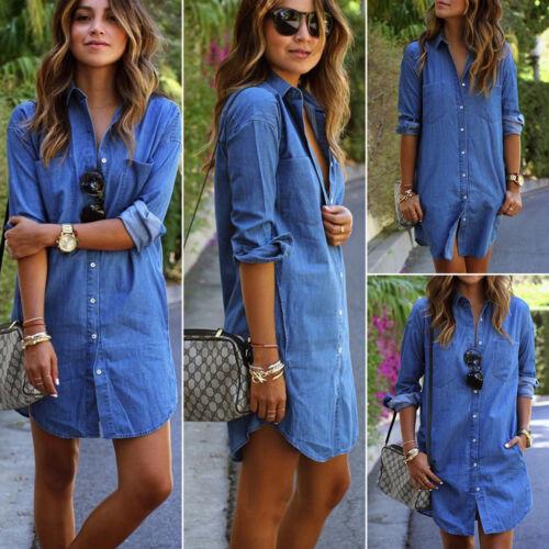 743aaafb23ea Women's Denim Jeans Dress Button Summer Long Sleeve Casual Tops Mini Shirt  Dress 2 2 of 6 ...