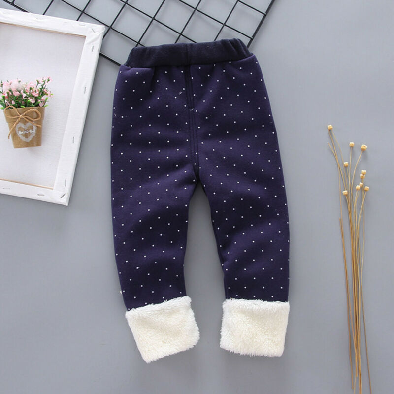 Toddler Baby Girls Dot Candy Thick Warm Pants Trousers Legging Clothes UK 6
