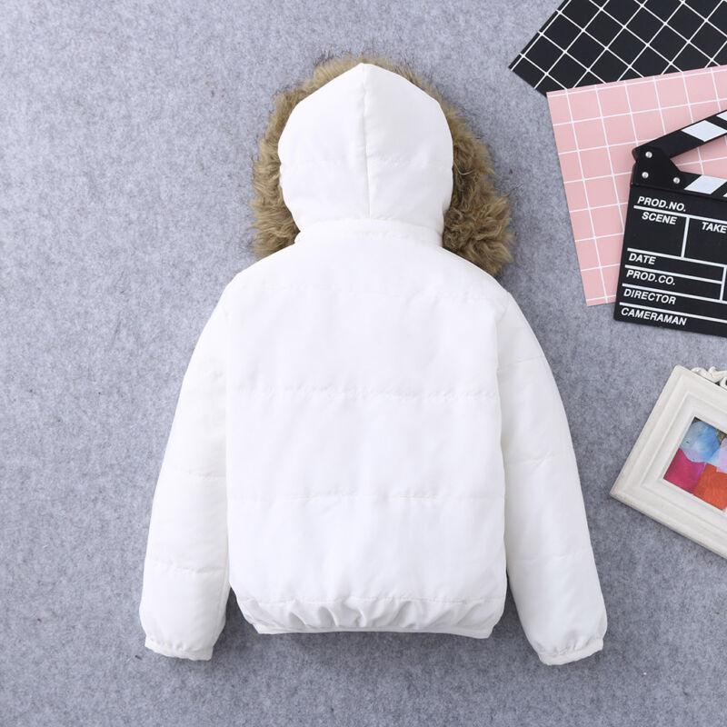 New Kids Baby Toddler Boy Girl Winter Warm Coat Faux Fur Hooded Jacket Outerwear 6