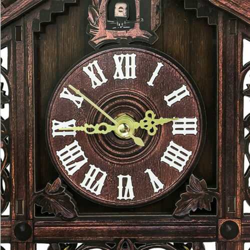 2Pcs Retro Collectible Handcrafted Wood Cuckoo Wall Clock with Pendulum 6