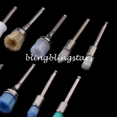 100Pcs Mixed Color Nylon Latch Flat Polishing Dental Prophy Brushes Cup Kit 7