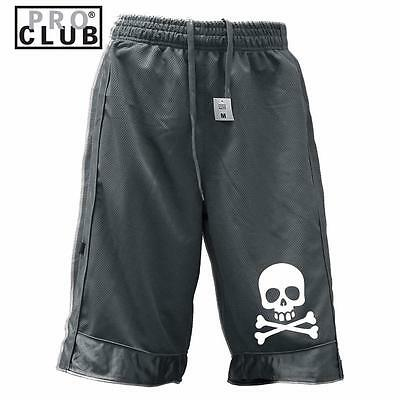 New Men's Proclub Printed Skull Funny Heavy Weight Basketball Mesh Shorts Pants 3