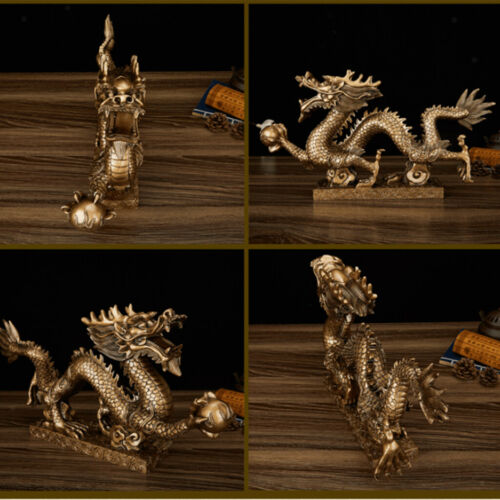 1 Piece Chinese Feng Shui Dragon Bronze Figurine Statue Luck & Success Gifts 12