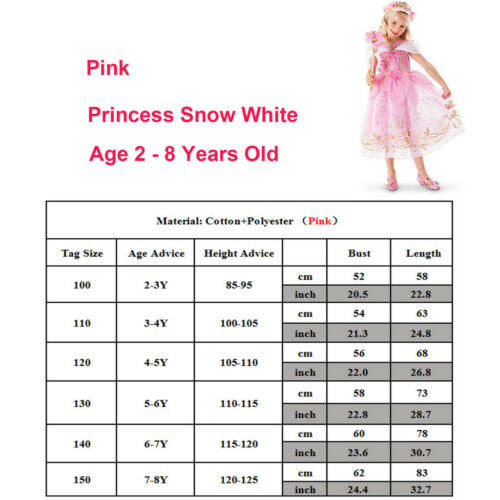 Cinderella Belle Snow White Dress Kids Girls Costume Princess Party Fancy Dress 7