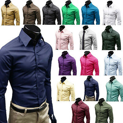 Mens Long Sleeve Slim Fit Dress Shirt Business Work Luxury Formal Casual T-shirt 2